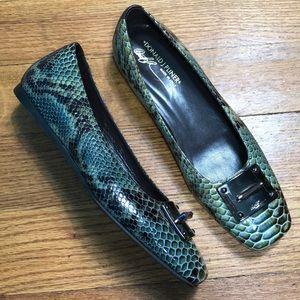 $386 New Donald J. Pliner Snakeskin Ballet Flats